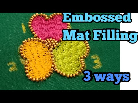 Mat filling stitch - Embossed Mat filling stitch in Aari - 3 Ways filling -Aari advanced work