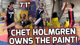 """Chet Holmgren & Team USA Stay Undefeated In FIBA World Cup! 7'1"""" Gonzaga Commit SHUTS DOWN Paint! 💪"""