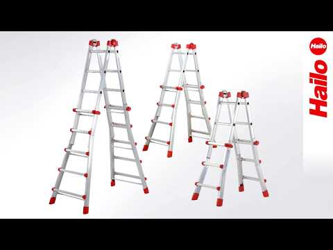 Hailo Alu Multifunktions Teleskopleiter 4x5 Sprossen-youtube_img