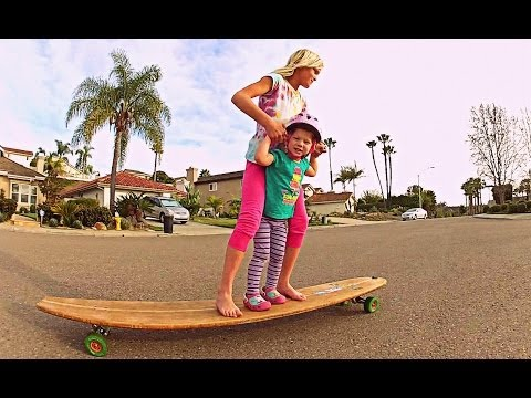 Sisters Tandem Skate the Hamboard Longboard!