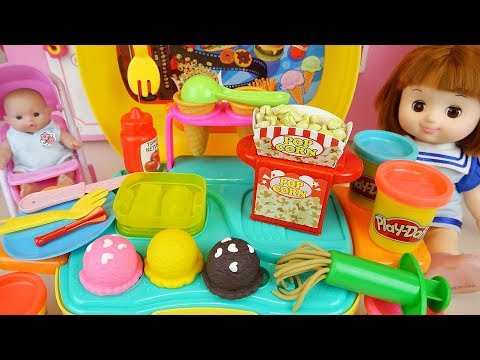 Baby doll play doh Ice cream and pop corn cooking kitchen toys play