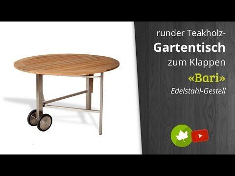 Diamond Garden Teak-Gartentisch Bari, Edelstahl-Gestell rund mit Rollen, klappbar