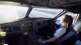 エアバスA320コ・パイロットの着陸コクピットビュー