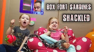 SHACKLED SARDINES in a HUGE BOX FORT MAZE! Family Hide and Seek Game!!!