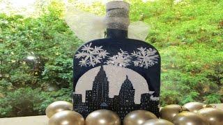 DIY Decoupage Christmas Cards Onto Bottles