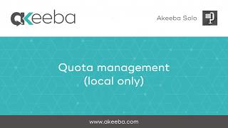 Watch a video on Quota Management (local storage) [02:46]