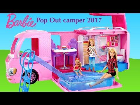 Barbie Pop Out Camper 2017 New -  Barbie Dolls Morning Routine in Dream Camper Van