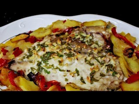 Sargo con verduras al horno - Pescado con guarnición de patatas y verduras