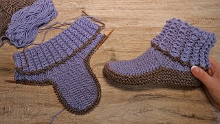 Домашние сапожки спицами | Homemade Knitted Slippers