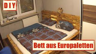 Möbel Aus Europaletten   Paletten Bett Mit LED Beleuchtung   DIY Furniture