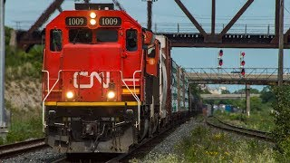 4K - Railfanning on the CN Kingston Subdivision: Freight and Passenger Train Action