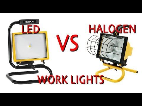 LED Work light Vs. Halogen Work light (shop light comparison)