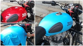Royal Enfield Redditch Blue Vinyl Wrapping | Bullet Modification | Vwraps Sikar