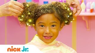How to Create a Hair Buns w/ Sparkles Tutorial ✨| Sunny Day's Style Files | Nick Jr.