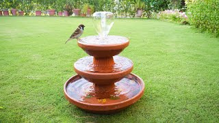 Amazing ! Easy DIY Fountain Using Clay Saucers | Birds Bath | Garden Fountain | Great Ideas