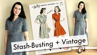 Sewing A Vintage 1940s Pattern With Vintage Fabric And ONLY Supplies From My Stash
