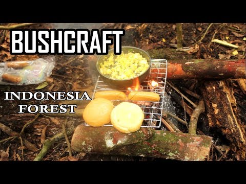 BUSHCRAFT INDONESIA FOREST - LUNCH , COFFEE , SURVIVAL FOOD , FLYSHEET