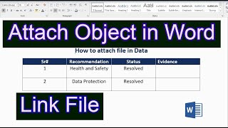 Attach File in a Word Document   Insert File in Word   How to Insert a File in Microsoft Word