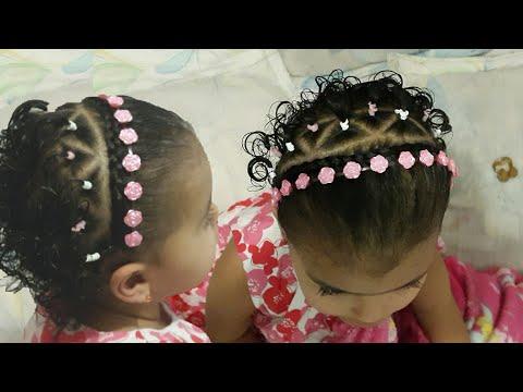 Penteado Infantil Tiara Com Cabelo Ligas Fita E Flor Youtube