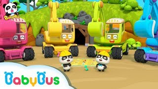 Baby Panda:  Digging Treasure with Excavators | Car Toys & Pretend Play | BabyBus