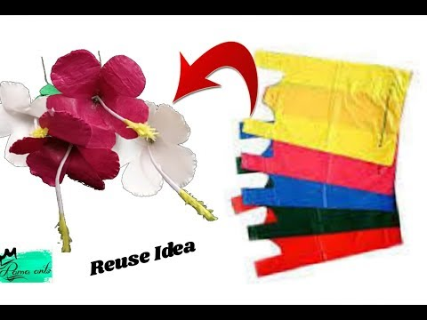 Hybiscus Flowers With Plastic Carry Bags Best Out Of Waste Reuse Ideas Jute Bag