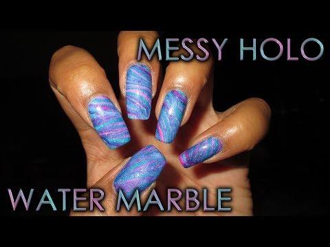 Messy Holo Water Marble | DIY Nail Art Tutorial