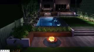 Front Yard & Backyard Design With Swimming Pool