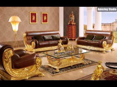 Barock Stil Italienische Möbel Leder Gold Tapete Mit Ornamenten