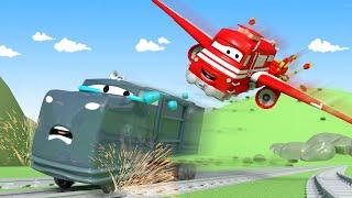 Lokomotywa Troy - Pociąg Samolot - Miasto Samochodów 🚄 Bajki Dla Dziecia