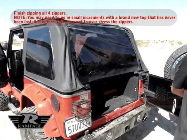 Rampage Trail Top with Tinted Windows (Frameless Soft Top Kit With Door  Skins & Surrounds) - Black Diamond