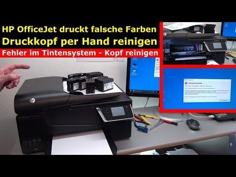 HP OfficeJet druckt falsche | keine Farben - Druckkopf per Hand reinigen - [4K Video]