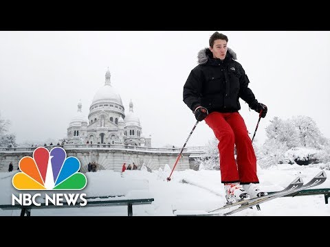 Heavy Snow Closes Eiffel Tower, Turns Montmartre Into Ski Slope | NBC News