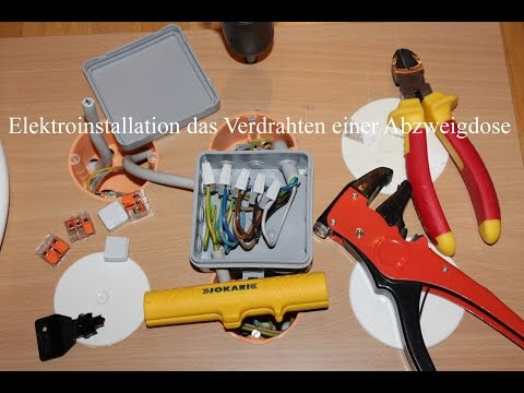 Elektroinstallation das Verdrahten einer Abzweigdose
