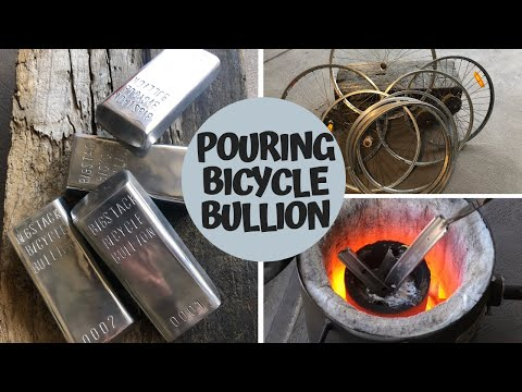 Pouring Bicycle Bullion - Rims To Riches - Melting Aluminium Rims - TRASH TO TREASURE