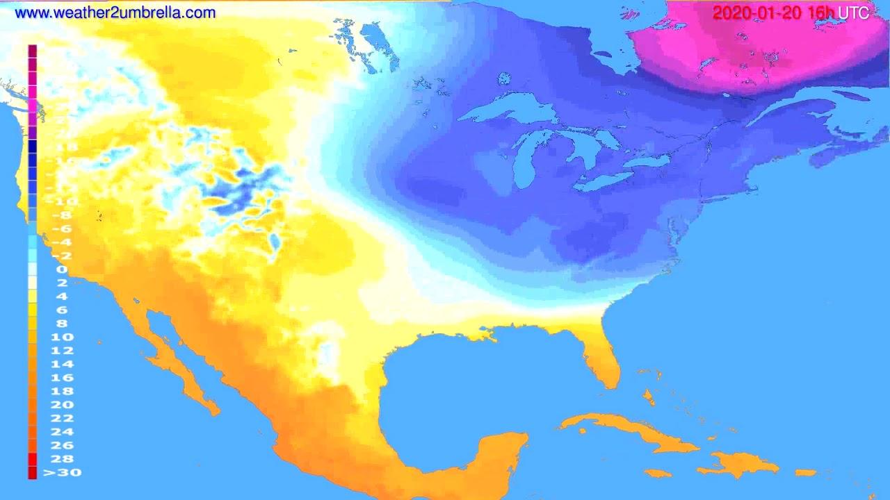 Temperature forecast USA & Canada // modelrun: 12h UTC 2020-01-19
