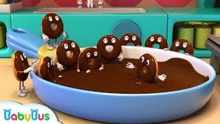 Baby Panda Makes Chocolate Donuts | Pandas Bakery Shop | Cook Pretend Play | BabyBus