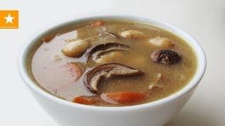 Смотреть онлайн Грибной суп из сушеных грибов с фасолью