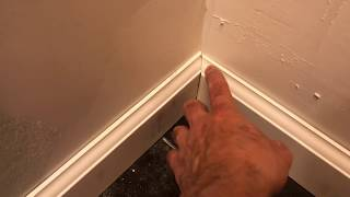 How to cut and install wall baseboard trim 45° cuts
