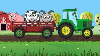 Собираем силуэт — Трактор и Животные. Развивающий мультик