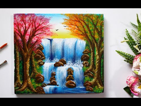 Step By Step Waterfall Landscape  Painting for Beginners