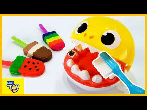 Baby Shark Tooth Play / Learn Colors with Play Doh Ice Cream - Cars Learning Videos for Kids | WeToy