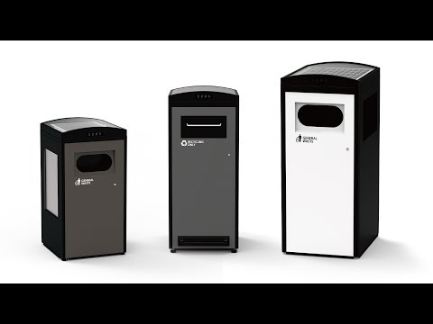 Solar-powered trash compactor bin (Clean CUBE)