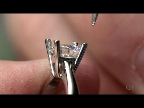 How to Set a Round Center Stone in a Ring with Platinum Prongs | GIA