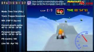 "MK64 - former world record on Frappe Snowland - 2'00""16 (NTSC: 1'39""93)"