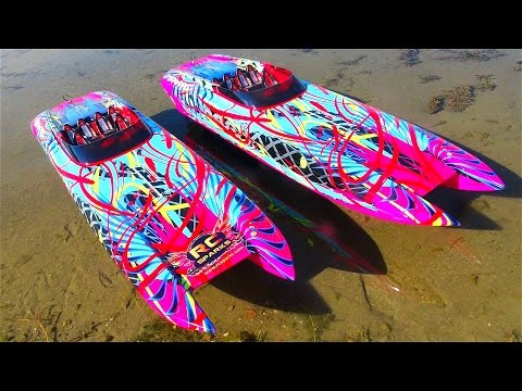 UNBOXiNG Two 6s 50mph Traxxas M41 Widebody 40″ Catamaran Radio Control Race Boats | RC ADVENTURES