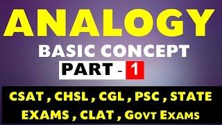 Analogy Reasoning Part - 1(Basic Concept) for CSAT ,CLAT, SSC CGL ,CHSL, PSC,NDA,CDS,Govt exams