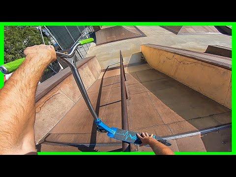 Longest Grind Possible on Scooter at Skatepark!