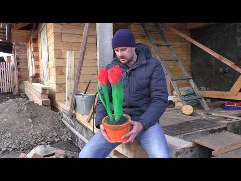 Классный подарок Бабушке на 8 Марта, цветы тюльпаны из дерева бензопилой