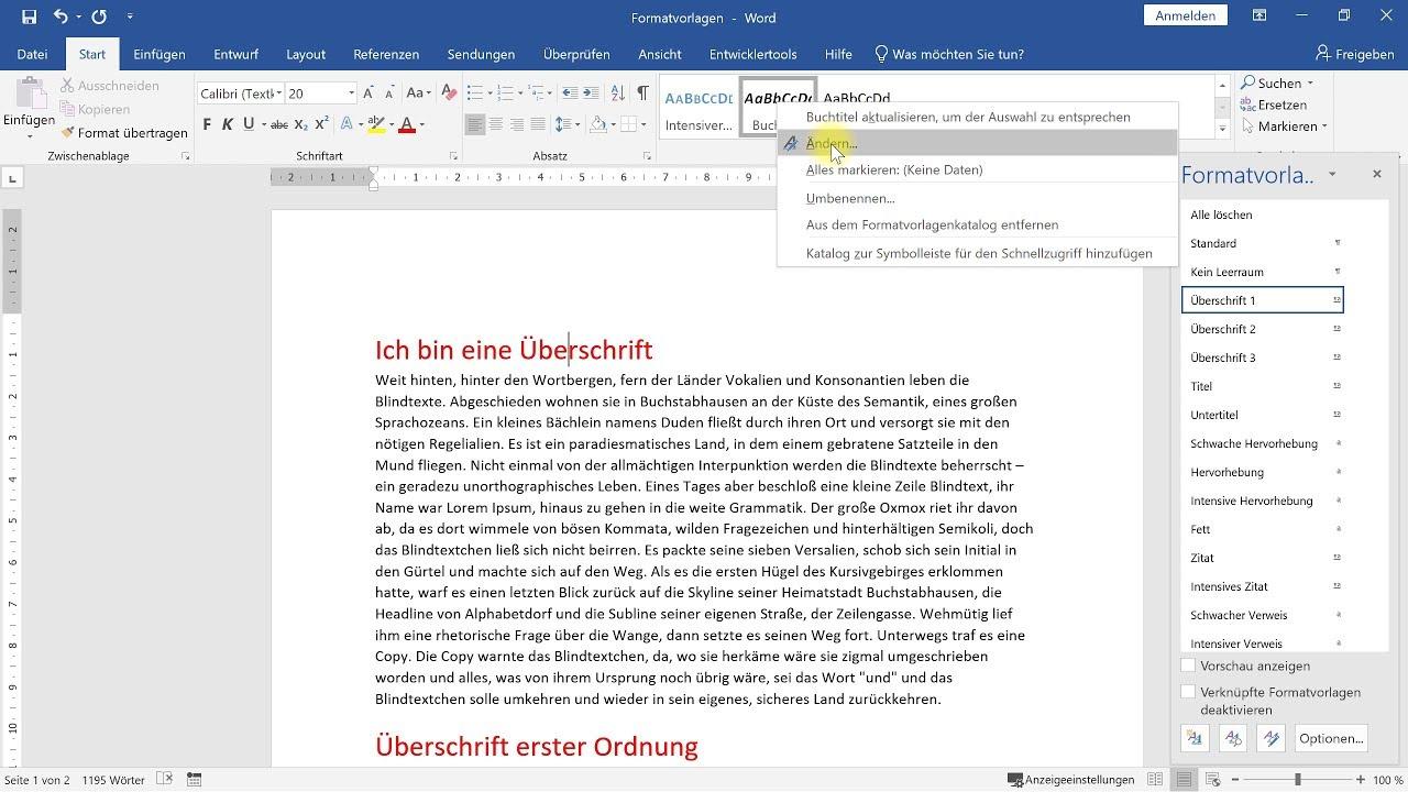 Formatvorlagen richtig verwenden – Word-Tutorial