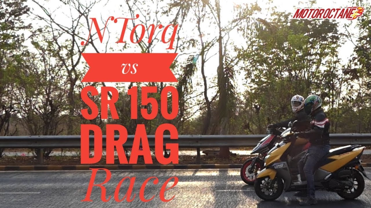 Motoroctane Youtube Video - DRAG: TVS NTorq vs Aprilia SR 150 Race | MotorOctane